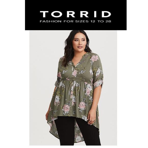 736f12f7 torrid Tops | Lexie Olive Floral Babydoll Tunic Sz 3x | Poshmark